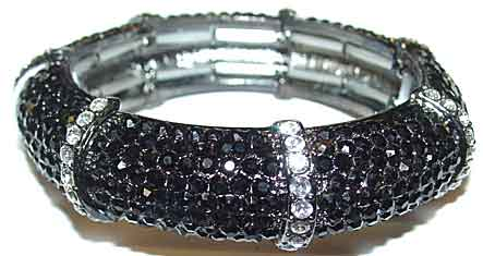 Description Black Rhinestone Bracelet With Clear Stripes This Is A Stretch In Seven Sections Row Of Rhinestones At The