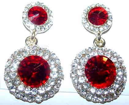 b1a80ae6f Description: Red and Clear Rhinestone Earrings - Red rivoli (pointed top)  stones are surrounded by a single row of clear rhinestones at the top and a  double ...