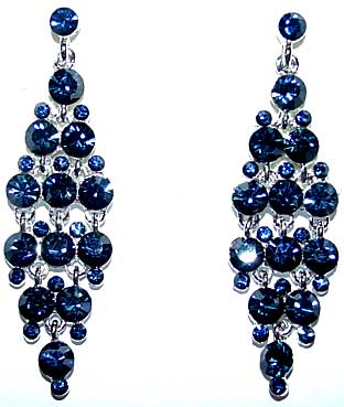 e4fce1964 Description: Montana (Navy Blue) Rhinestone Double Pyramid Earrings - A  popular trend in design, these earrings use small and medium sized  rhinestones in ...