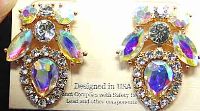 Description Aurora Borealis And Clear Rhinestone Earrings At 1 X 3 4 This Is A More Understated Special Occasion Earring Single Ab Teardrops Are