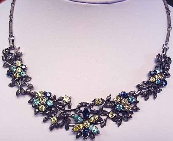 Vintage Rhinestone Choker in Floral Design with Multi-Colored Rhinestones