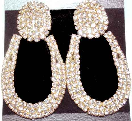 e76563d02 Description: Clear Rhinestone Chain Doorknocker Earrings - This design is  classic. Clear rhinestone chain is soldered into a horseshoe shape, ...