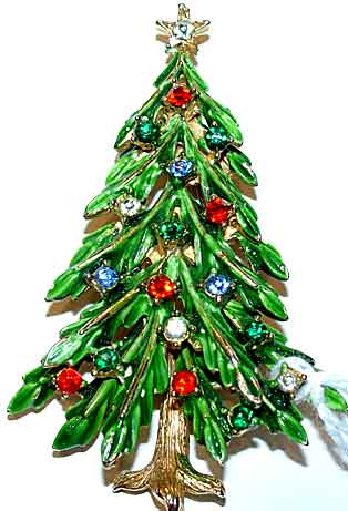 Description: ART Enameled Christmas Tree Pin With Multi Rhinestones    Another Book Piece, This Is Shown Enameled In Trowbridge And Non Enameled  In Morrison.